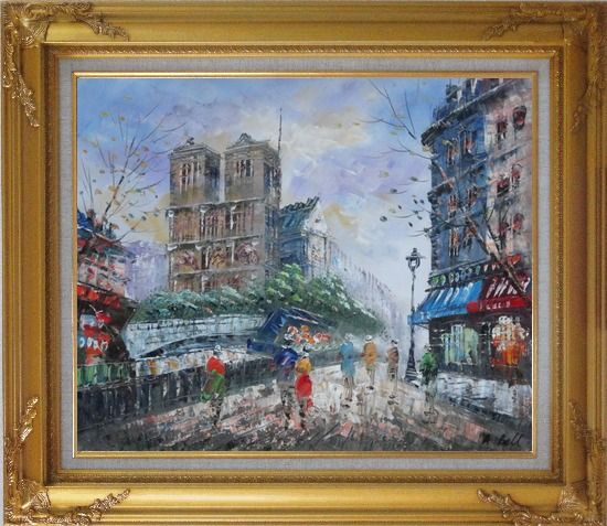 Framed Street Walking Near Notre Dame de Paris Oil Painting Cityscape France Impressionism Gold Wood Frame with Deco Corners 27 x 31 Inches