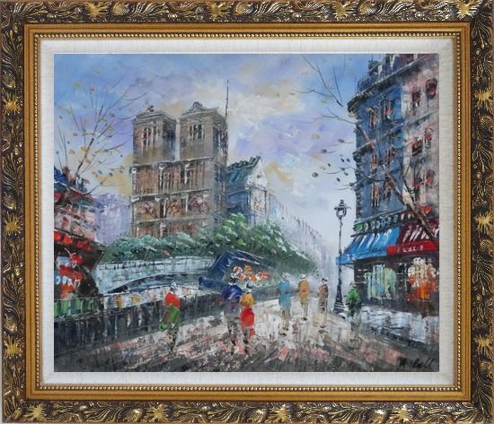 Framed Street Walking Near Notre Dame de Paris Oil Painting Cityscape France Impressionism Ornate Antique Dark Gold Wood Frame 26 x 30 Inches