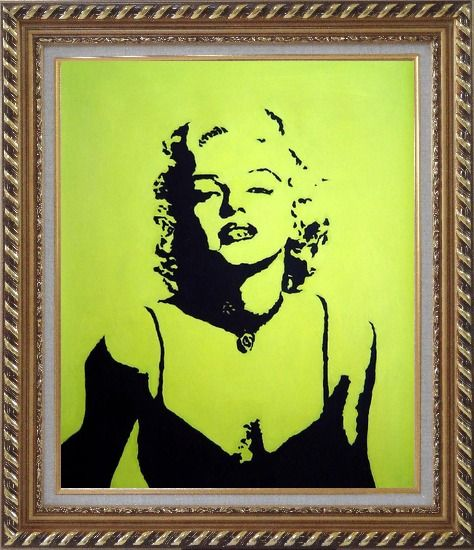 Framed American Beauty Marilyn Monroe Oil Painting Portraits Celebrity Woman Actor Pop Art Exquisite Gold Wood Frame 30 x 26 Inches