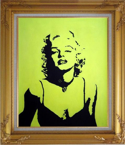 Framed American Beauty Marilyn Monroe Oil Painting Portraits Celebrity Woman Actor Pop Art Gold Wood Frame with Deco Corners 31 x 27 Inches