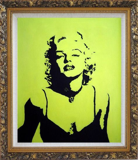 Framed American Beauty Marilyn Monroe Oil Painting Portraits Celebrity Woman Actor Pop Art Ornate Antique Dark Gold Wood Frame 30 x 26 Inches