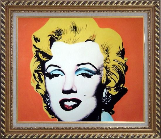 Framed Marilyn Monroe Oil Painting Portraits Celebrity Woman America Actor Pop Art Exquisite Gold Wood Frame 26 x 30 Inches