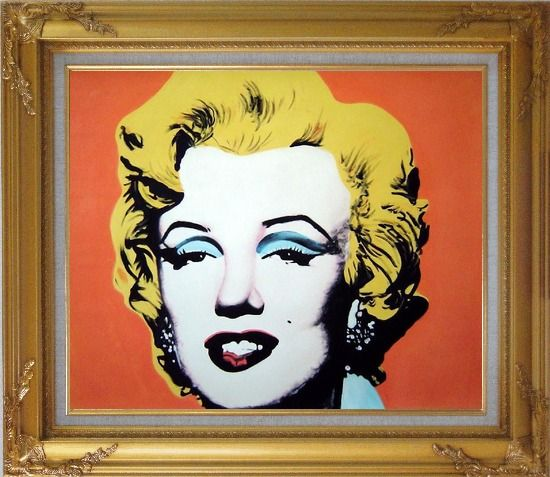 Framed Marilyn Monroe Oil Painting Portraits Celebrity Woman America Actor Pop Art Gold Wood Frame with Deco Corners 27 x 31 Inches
