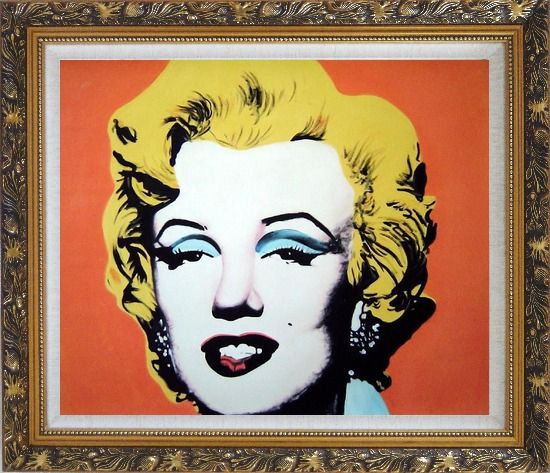 Framed Marilyn Monroe Oil Painting Portraits Celebrity Woman America Actor Pop Art Ornate Antique Dark Gold Wood Frame 26 x 30 Inches