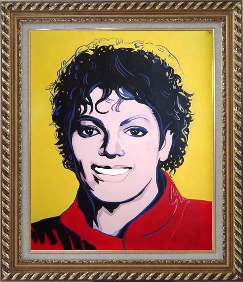 Framed Michael Jackson Oil Painting Portraits Celebrity America Musician Pop Art Exquisite Gold Wood Frame 30 x 26 Inches