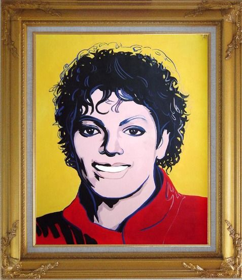 Framed Michael Jackson Oil Painting Portraits Celebrity America Musician Pop Art Gold Wood Frame with Deco Corners 31 x 27 Inches