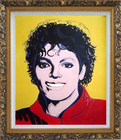 Framed Michael Jackson Oil Painting Portraits Celebrity America Musician Pop Art Ornate Antique Dark Gold Wood Frame 30 x 26 Inches