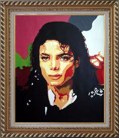 Framed King of Pop Michael Jackson Oil Painting Portraits Celebrity America Musician Art Exquisite Gold Wood Frame 30 x 26 Inches