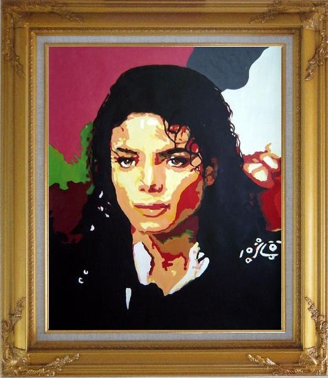 Framed King of Pop Michael Jackson Oil Painting Portraits Celebrity America Musician Art Gold Wood Frame with Deco Corners 31 x 27 Inches