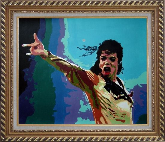 Framed American Pop Superstar Michael Jackson Oil Painting Portraits Celebrity Musician Art Exquisite Gold Wood Frame 26 x 30 Inches