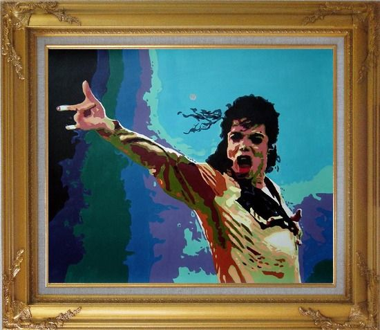 Framed American Pop Superstar Michael Jackson Oil Painting Portraits Celebrity Musician Art Gold Wood Frame with Deco Corners 27 x 31 Inches