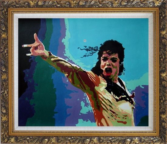 Framed American Pop Superstar Michael Jackson Oil Painting Portraits Celebrity Musician Art Ornate Antique Dark Gold Wood Frame 26 x 30 Inches