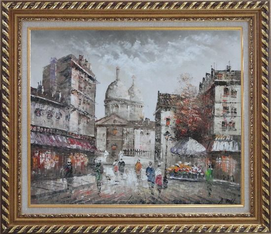Framed Paris In Love Oil Painting Cityscape France Impressionism Exquisite Gold Wood Frame 26 x 30 Inches