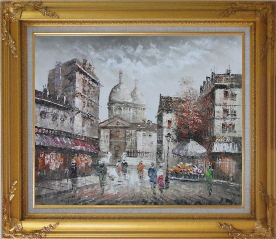 Framed Paris In Love Oil Painting Cityscape France Impressionism Gold Wood Frame with Deco Corners 27 x 31 Inches