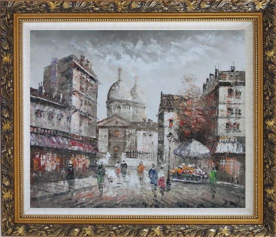 Framed Paris In Love Oil Painting Cityscape France Impressionism Ornate Antique Dark Gold Wood Frame 26 x 30 Inches
