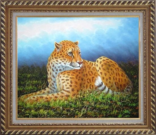 Framed Sitting Tiger in Wild Oil Painting Animal Naturalism Exquisite Gold Wood Frame 26 x 30 Inches