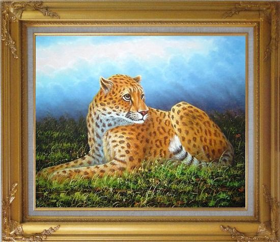 Framed Sitting Tiger in Wild Oil Painting Animal Naturalism Gold Wood Frame with Deco Corners 27 x 31 Inches