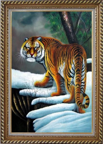 Framed Walking Tiger in White Snow Field Oil Painting Animal Naturalism Exquisite Gold Wood Frame 42 x 30 Inches