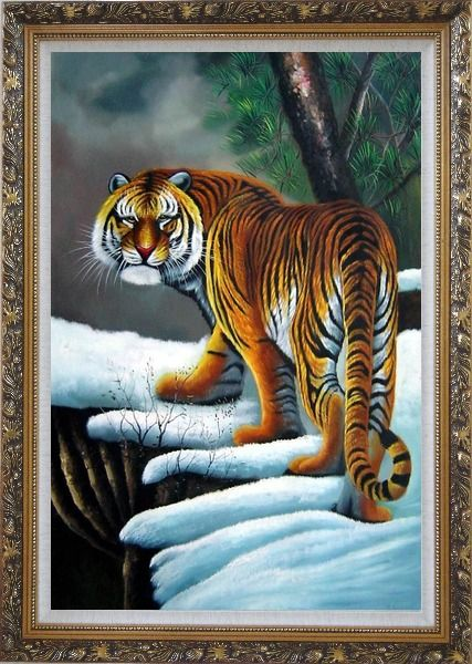 Framed Walking Tiger in White Snow Field Oil Painting Animal Naturalism Ornate Antique Dark Gold Wood Frame 42 x 30 Inches