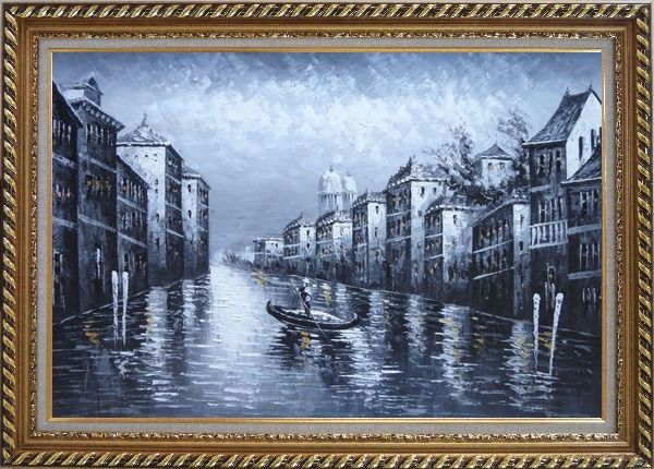 Framed  Black White Lonely Gondola in Venice Street of Grand Canal Oil Painting Italy Impressionism Exquisite Gold Wood Frame 30 x 42 Inches