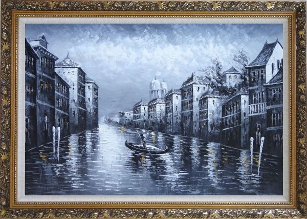 Framed  Black White Lonely Gondola in Venice Street of Grand Canal Oil Painting Italy Impressionism Ornate Antique Dark Gold Wood Frame 30 x 42 Inches