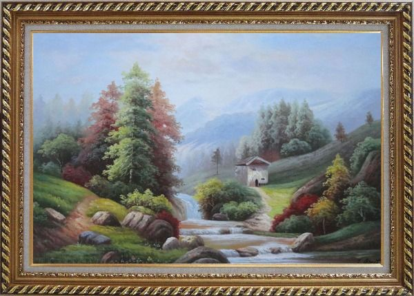 Framed Small Creek Cascade Waterfall Mountain Valley Scenery in Autumn Oil Painting Landscape River Naturalism Exquisite Gold Wood Frame 30 x 42 Inches