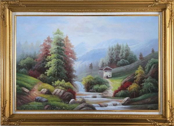 Framed Small Creek Cascade Waterfall Mountain Valley Scenery in Autumn Oil Painting Landscape River Naturalism Gold Wood Frame with Deco Corners 31 x 43 Inches