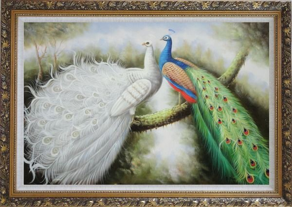 Framed Beautiful White and Blue Peacocks Oil Painting Animal Naturalism Ornate Antique Dark Gold Wood Frame 30 x 42 Inches