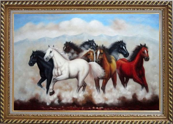 Framed Eight Running Mustang Horses Oil Painting Animal Naturalism Exquisite Gold Wood Frame 30 x 42 Inches