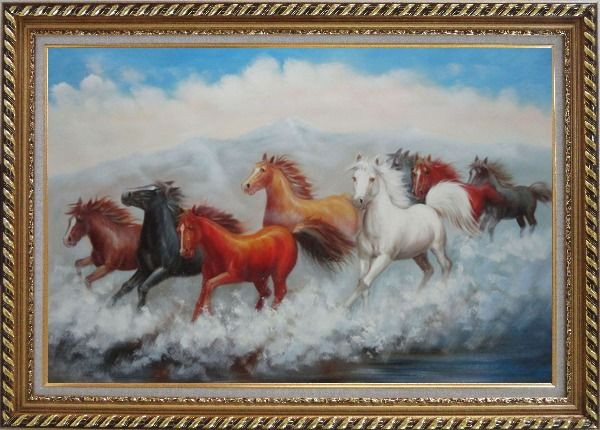 Framed Eight Running Mustang Herd Horses Oil Painting Animal Naturalism Exquisite Gold Wood Frame 30 x 42 Inches