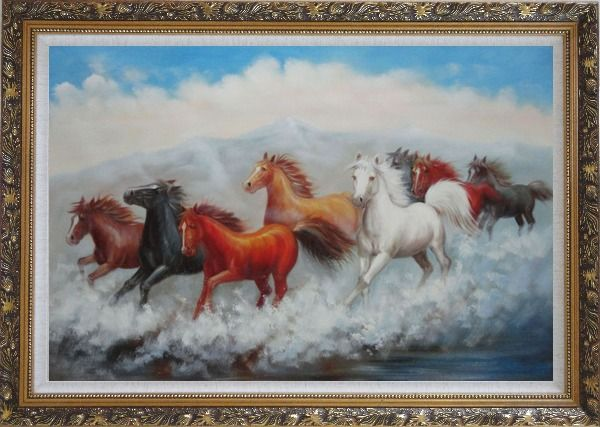 Framed Eight Running Mustang Herd Horses Oil Painting Animal Naturalism Ornate Antique Dark Gold Wood Frame 30 x 42 Inches