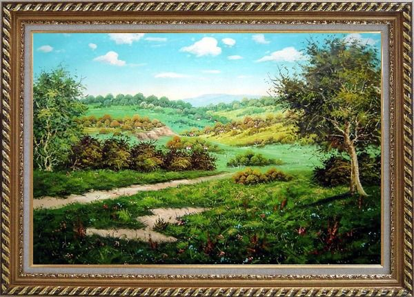 Framed Spring Landscape Oil Painting Classic Exquisite Gold Wood Frame 30 x 42 Inches