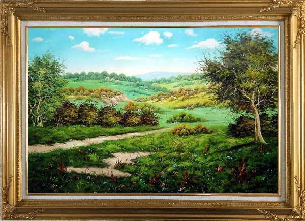 Framed Spring Landscape Oil Painting Classic Gold Wood Frame with Deco Corners 31 x 43 Inches