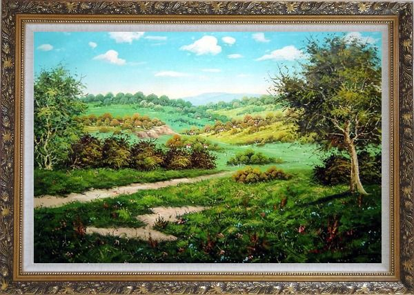 Framed Spring Landscape Oil Painting Classic Ornate Antique Dark Gold Wood Frame 30 x 42 Inches