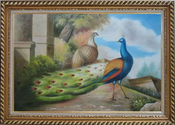 Framed A Peahen and A Blue Peacock Together Oil Painting Animal Classic Exquisite Gold Wood Frame 30 x 42 Inches