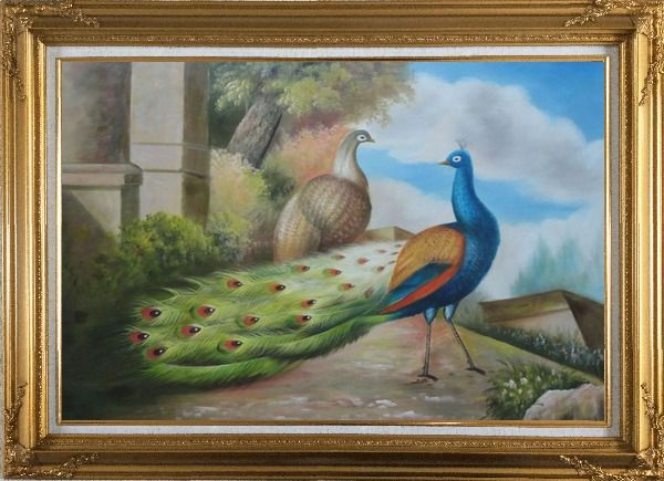 Framed A Peahen and A Blue Peacock Together Oil Painting Animal Classic Gold Wood Frame with Deco Corners 31 x 43 Inches