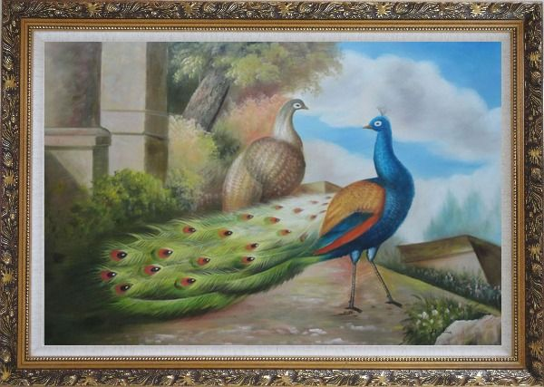 Framed A Peahen and A Blue Peacock Together Oil Painting Animal Classic Ornate Antique Dark Gold Wood Frame 30 x 42 Inches