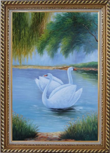 Framed Pair of White Swans Enjoy Pleasant Time On Lake Oil Painting Animal Naturalism Exquisite Gold Wood Frame 42 x 30 Inches