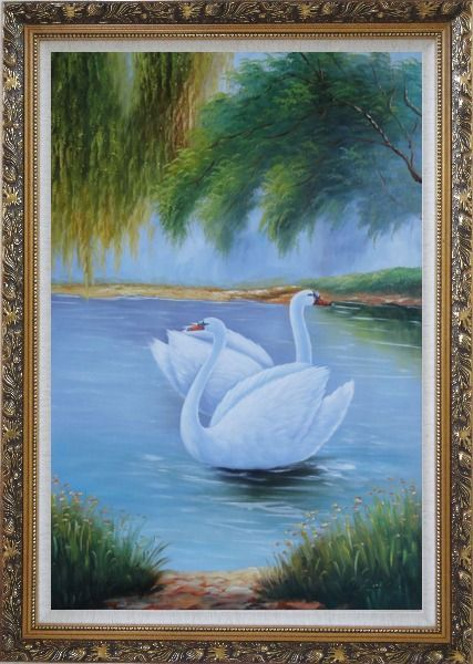 Framed Pair of White Swans Enjoy Pleasant Time On Lake Oil Painting Animal Naturalism Ornate Antique Dark Gold Wood Frame 42 x 30 Inches