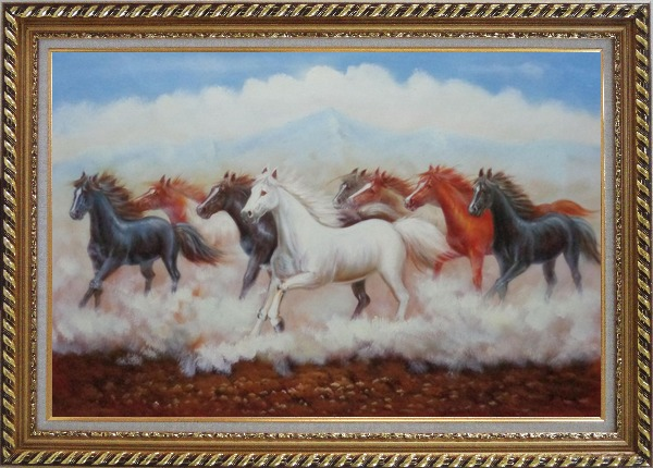 Framed Eight Running Horses Oil Painting Animal Naturalism Exquisite Gold Wood Frame 30 x 42 Inches