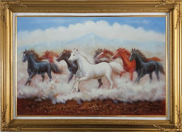 Framed Eight Running Horses Oil Painting Animal Naturalism Gold Wood Frame with Deco Corners 31 x 43 Inches
