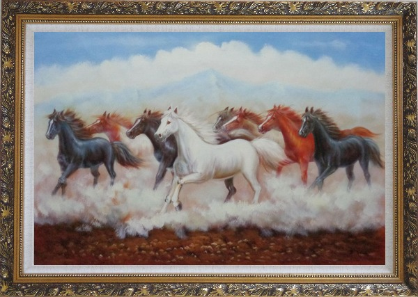 Framed Eight Running Horses Oil Painting Animal Naturalism Ornate Antique Dark Gold Wood Frame 30 x 42 Inches