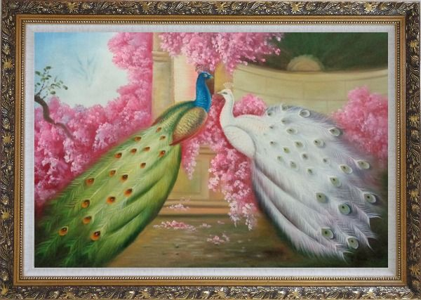 Framed White and Blue Peacocks with Pink Flowers in Palace Oil Painting Animal Naturalism Ornate Antique Dark Gold Wood Frame 30 x 42 Inches