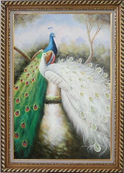 Framed Blue and White Peacock Pair on Tree Branch Oil Painting Animal Naturalism Exquisite Gold Wood Frame 42 x 30 Inches