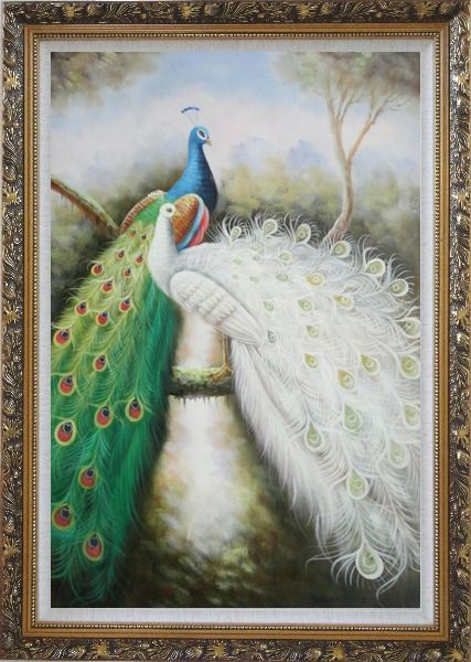 Framed Blue and White Peacock Pair on Tree Branch Oil Painting Animal Naturalism Ornate Antique Dark Gold Wood Frame 42 x 30 Inches