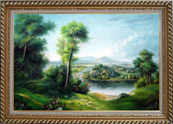 Framed Riverside Green Field Oil Painting Landscape Classic Exquisite Gold Wood Frame 30 x 42 Inches