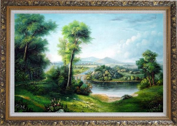 Framed Riverside Green Field Oil Painting Landscape Classic Ornate Antique Dark Gold Wood Frame 30 x 42 Inches