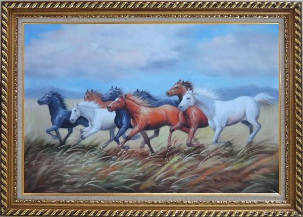 Framed Eight Horses On The Prairie Oil Painting Animal Naturalism Exquisite Gold Wood Frame 30 x 42 Inches