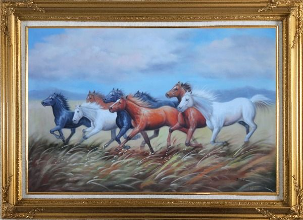 Framed Eight Horses On The Prairie Oil Painting Animal Naturalism Gold Wood Frame with Deco Corners 31 x 43 Inches