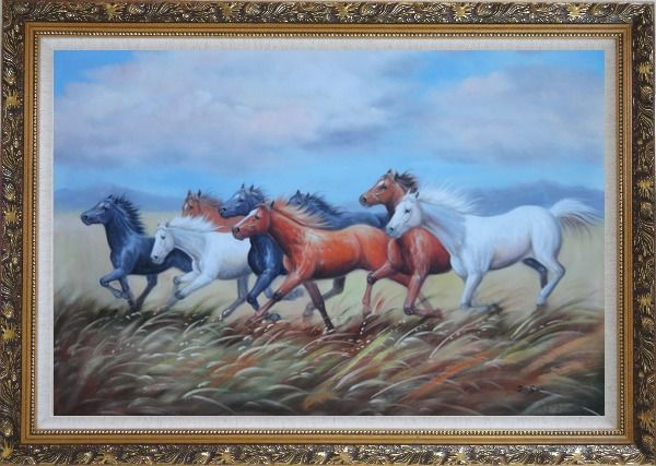 Framed Eight Horses On The Prairie Oil Painting Animal Naturalism Ornate Antique Dark Gold Wood Frame 30 x 42 Inches